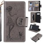 Imprinted Beauty Cat 9 Card Slots Leather Stand Case for Samsung Galaxy S10 5G – Grey