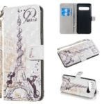 Light Spot Decor Patterned Leather Wallet Case for Samsung Galaxy S10 5G – Eiffel Tower