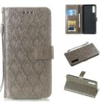 Imprint Leaf Leather Wallet Stand Case for Samsung Galaxy A70 – Grey