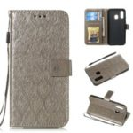 Imprint Leaf Leather Wallet Stand Case for Samsung Galaxy A40 – Grey