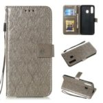 Imprint Leaf Leather Wallet Stand Case for Samsung Galaxy A20 / A30 – Grey