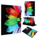 Cross Texture Pattern Printing Wallet Stand PU Leather Tablet Protective Cover for Samsung Galaxy Tab S5e SM-T720 / SM-T725 – Colorful Petals