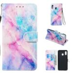 Shock-proof Pattern Printing Wallet Leather Phone Shell with Strap for Samsung Galaxy A20e – Colorful Stone Grain