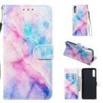 Anti-fall Pattern Printing Stand Wallet Leather Protective Case with Strap for Samsung Galaxy A70 – Colorful Stone Grain