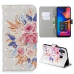 Light Spot Decor Pattern Printing Leather Wallet Case for Samsung Galaxy A20/A30 – Vivid Flowers