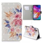 Light Spot Decor Pattern Printing Leather Wallet Case for Samsung Galaxy A70 – Vivid Flowers