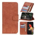 Litchi Texture Leather Wallet Phone Shell for Samsung Galaxy A10e – Brown
