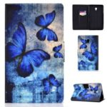Pattern Printing Card Holder Stand PU Leather Tablet Case for Samsung Galaxy Tab A 8.0 (2017) SM-T380 / SM-T385 – Blue Butterflies