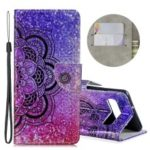 Laser Carving Pattern Printing Wallet Leather Casing with Strap for Samsung Galaxy S10 5G – Flower