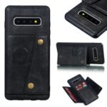 PU Leather Coated TPU Card Holder Magnetic Kickstand Mobile Phone Cover for Samsung Galaxy S10 Plus – Black