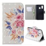 Light Spot Decor Pattern Printing Leather Wallet Case for Samsung Galaxy A40 – Vivid Flowers