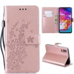 Imprint Plum Blossom Leather Wallet Stand Case for Samsung Galaxy A70 – Rose Gold