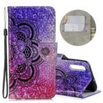 Laser Carving Pattern Printing Leather Wallet Case for Samsung Galaxy A70 – Black Flower