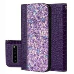 Auto-absorb Crocodile Texture Glittery Sequins Splicing Leather Case with Card Slot for Samsung Galaxy S10 5G – Purple