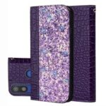 Crocodile Texture Glittery Sequins Splicing PU Leather Phone Case for Samsung Galaxy A40 – Dark Purple