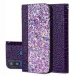 Crocodile Texture Glittery Sequins Splicing PU Leather Phone Case for Samsung Galaxy A40 – Dark Purple