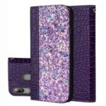 Crocodile Texture Shiny Splicing PU Leather Phone Cover for Samsung Galaxy A20e – Dark Purple
