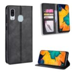 Auto-absorbed Vintage Style PU Leather Wallet Phone Case for Samsung Galaxy A20e – Black