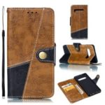 Splicing Button Decor Leather Wallet Phone Shell for Samsung Galaxy S10 Plus – Brown