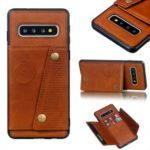 PU Leather Coated TPU Card Holder Mobile Phone Cover [Built-in Vehicle Magnetic Sheet] for Samsung Galaxy S10 – Brown