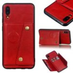 Kickstand Card Holder PU Leather Coated TPU Phone Casing [Built-in Vehicle Magnetic Sheet] for Samsung Galaxy M10 – Red