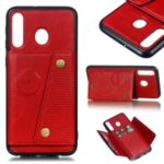 [Built-in Vehicle Magnetic Sheet] PU Leather Coated TPU Phone Case with Card Slots for Samsung Galaxy M30 – Red