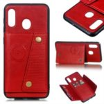 PU Leather Coated TPU Card Holder Magnetic Kickstand Phone Case for Samsung Galaxy A20/A30 – Red