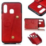 PU Leather Card Holder Magnetic Phone Case for Samsung Galaxy A40 – Red