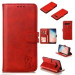 For Samsung Galaxy S10 Plus Imprinted Cat Pattern Leather Wallet Case Cover – Red