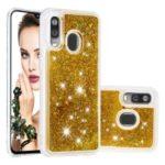 Liquid Glitter Powder Quicksand Shockproof TPU Phone Case for Samsung Galaxy A40 – Gold