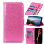 Glittery Powder Wallet Stand Leather Phone Casing for Samsung Galaxy A50 – Pink