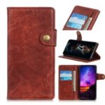 S-shape Crazy Horse Texture Flip Leather Wallet Phone Case for Samsung Galaxy Note 10 – Brown