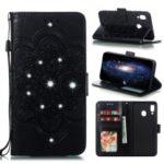 Sparkle Diamond Mandala Flower Imprinting Leather Cover for Samsung Galaxy A30 / A20 – Black