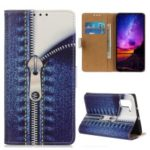 Pattern Printing Leather Wallet Case for Samsung Galaxy Note 10 – Jeans Metal Zipper