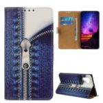 Pattern Printing Leather Wallet Stand Case for Samsung Galaxy Note 10 Pro – Jeans Metal Zipper