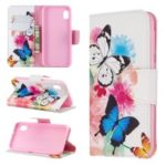 Printing Style PU Leather Flip Stand Phone Case for Samsung Galaxy A20e / A10e – Butterflies and Flowers