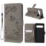 Imprinted Butterfly Flower Pattern Rhinestone Leather Wallet Case for Samsung Galaxy S10 5G – Grey
