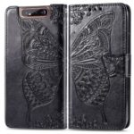 Imprint Butterfly Flower Leather Wallet Case for Samsung Galaxy A80/A90 – Black