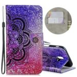 Laser Carving Pattern Printing Wallet Stand Leather Case with Strap for Samsung Galaxy J6+ – Flower