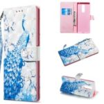 Light Spot Decor Pattern Printing Wallet Flip Leather Phone Case for Sony Xperia 1 – Peacock