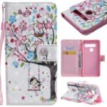 Light Spot Decor Patterned Leather Wallet Case for LG G8 ThinQ – Flowered Tree