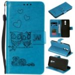 Imprinted Flower Owl Leather Phone Case for LG K40 / K12 Plus – Blue