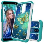Rhinestone Decor Pattern Printing TPU + PC Detachable 2-in-1 Hybrid Case for LG K40 / K12 Plus – Butterflies