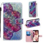 Pattern Printing Glitter Sequins Leather Wallet Phone Case for LG K40/K12+/K12 Plus – Mandala Flower