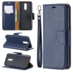 Litchi Texture PU Leather Phone Cover for LG K40 / K12 Plus – Blue