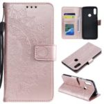 Imprint Mandala Flower Stand Wallet Leather Case for Huawei Y6 (2019, with Fingerprint Sensor) – Pink