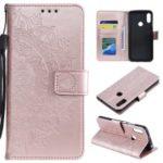 Imprint Mandala Flower Stand Wallet Leather Case for Huawei Y6 (2019, with Fingerprint Sensor) – Pink