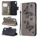 Imprint Butterfly Leather Wallet Case for Huawei Y5 (2019) / Honor 8S – Grey