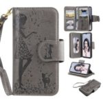 Imprinted Beauty Cat 9 Card Slots Leather Stand Case for Huawei P30 Lite / nova 4e – Grey