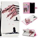 Pattern Printing Wallet Flip Leather Phone Cover with Strap for Huawei Honor 8S – Flower Tree and Cat